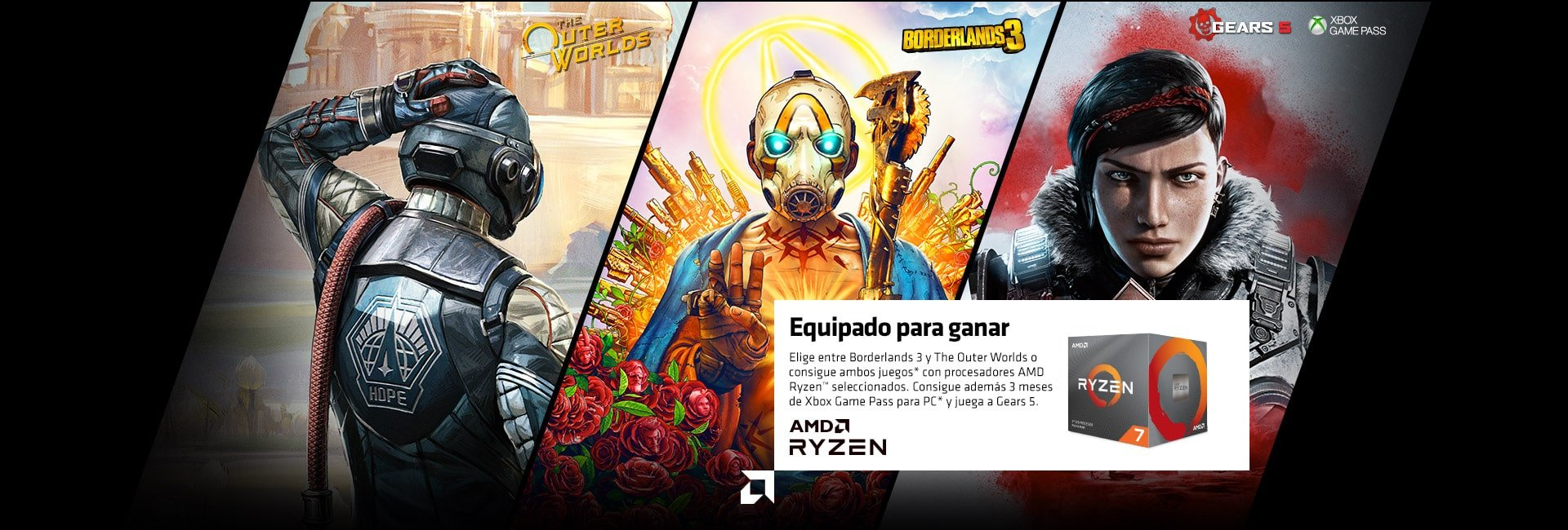 AMD  Equipado para ganar  Consigue Borderlands 3 o The Outer Worlds