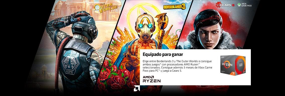 AMD  Equipado para ganar  Consigue Borderlands 3 o The Outer Worlds