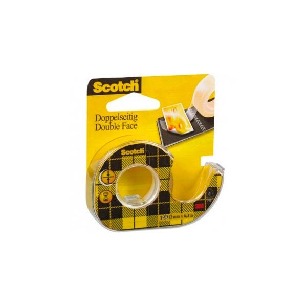 Scotch Cinta Adhesiva Doble Cara en Portarrollos 12 mm