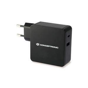 Conceptronic Cargador USBC y USBA 60W Negro  Adaptador