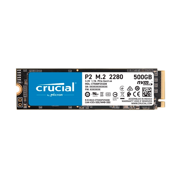 Crucial P2 500GB 3D NAND NVMe PCIe M2  SSD