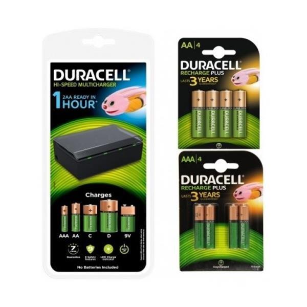 Duracell Pack Cargador  4 Pilas AA 1300mAh y 4 AAA 750mAh