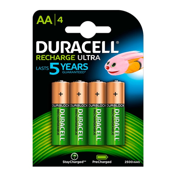 Duracell Pilas Recargables Recharge Ultra AA 2500mAh 4 uds