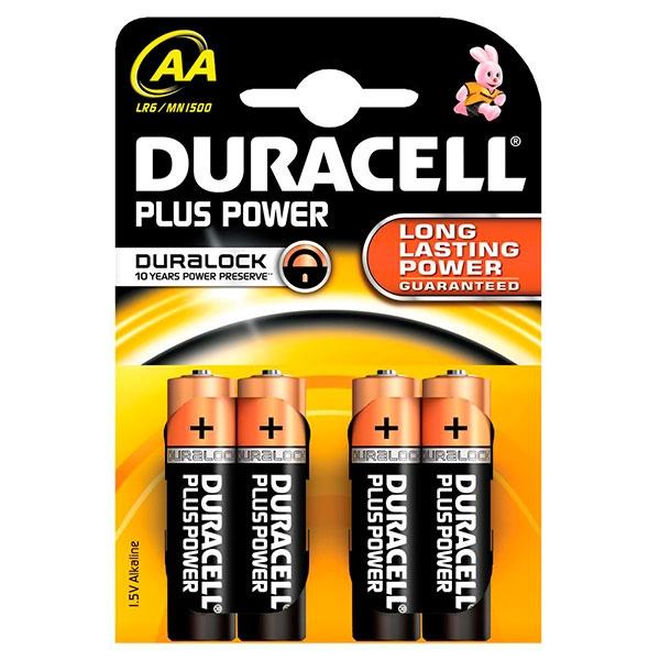 Duracell Pilas Alcalinas Plus Power AA 1.5V 4 unidades