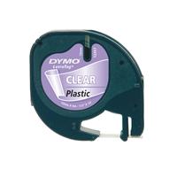 Dymo cinta plstico negro  transparente 12mm x 4m Recambio