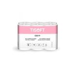 Tisoft Paquete de 12 rollos de papel higinico doble capa