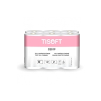 Tisoft Paquete de 12 rollos de papel higiénico doble capa