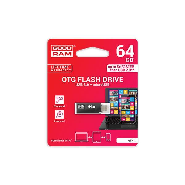 GOODRAM Pendrive 64GB OTN3 USB 3.0 Negro - Memoria