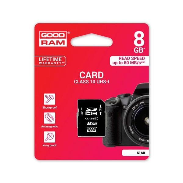 GOODRAM SD HC 8GB S1A0 CL10 UHSI  Memoria