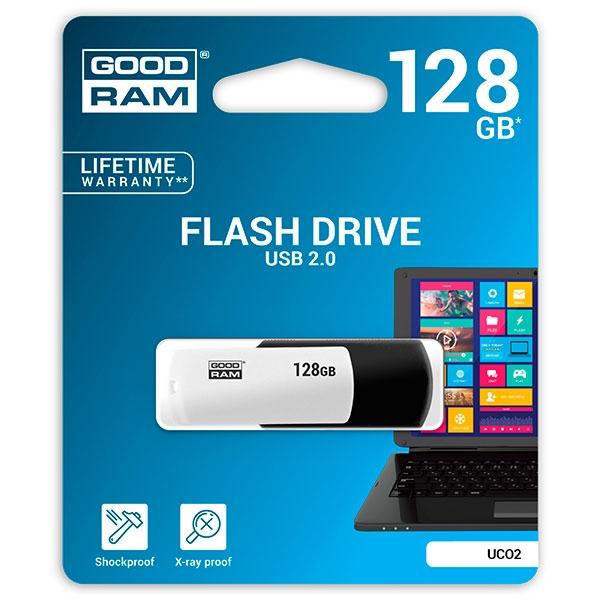 GOODRAM Pendrive 128GB UCO2 USB 2.0 Blanco/Negro - Memoria