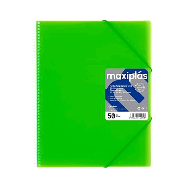 Grafoplás Carpeta Maxiplás Fluorgraf con 50 fundas Verde