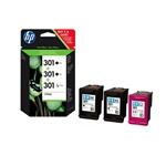 HP 301 pack 3 cartuchos 2 x negro y 1 tricolor - Tinta