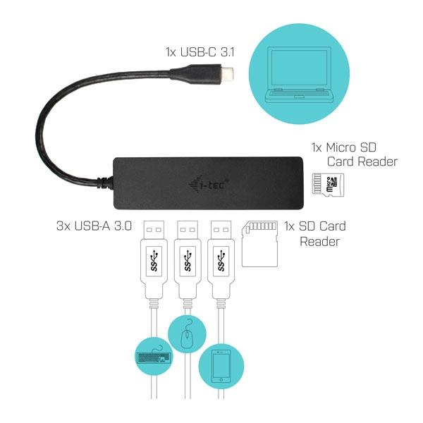 I-Tec USB-C a USB 3.0 con lector de tarjetas - Adaptador USB