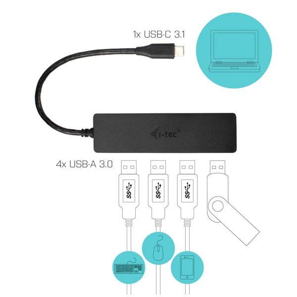 I-Tec Slim passive USB-C a HUB 4P USB 3.0 - HUB USB