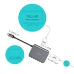 I-Tec USB-C a USB 3.0 + HDMI metal - Adaptador