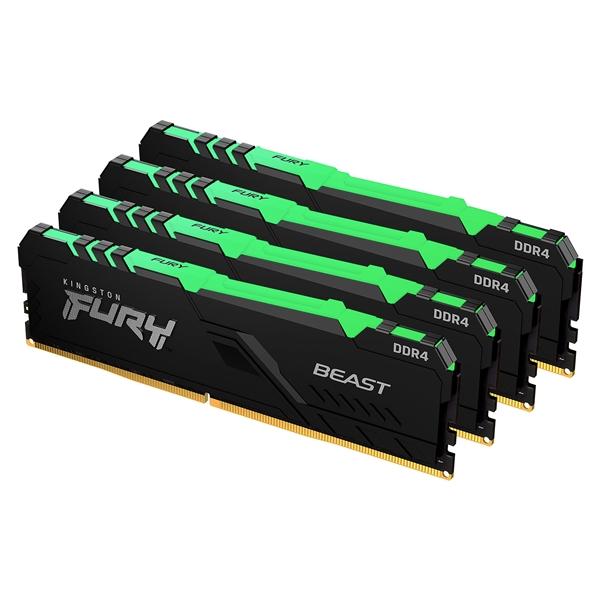 Kingston Fury Beast RGB DDR4 64GB (4x16GB) 2666MHZ CL16 - Memoria RAM