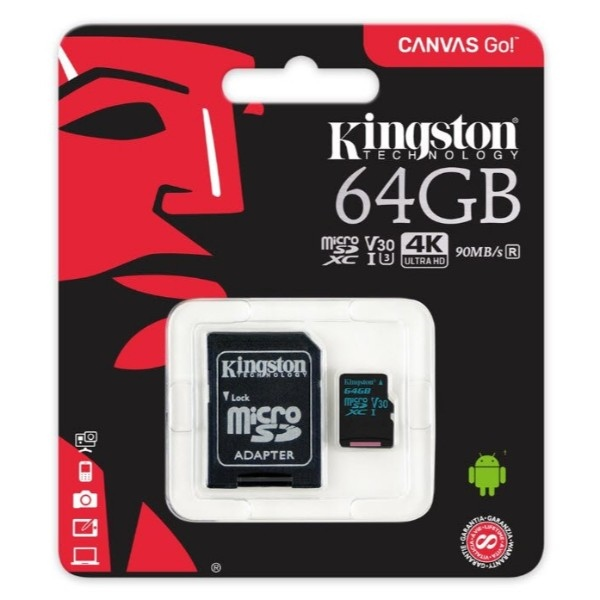 Kingston MicroSD Canvas Go! 64GB c/ad – Memoria Flash