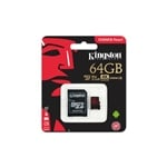 Kingston Canvas React MicroSD 64GB c/ad - Memoria Flash