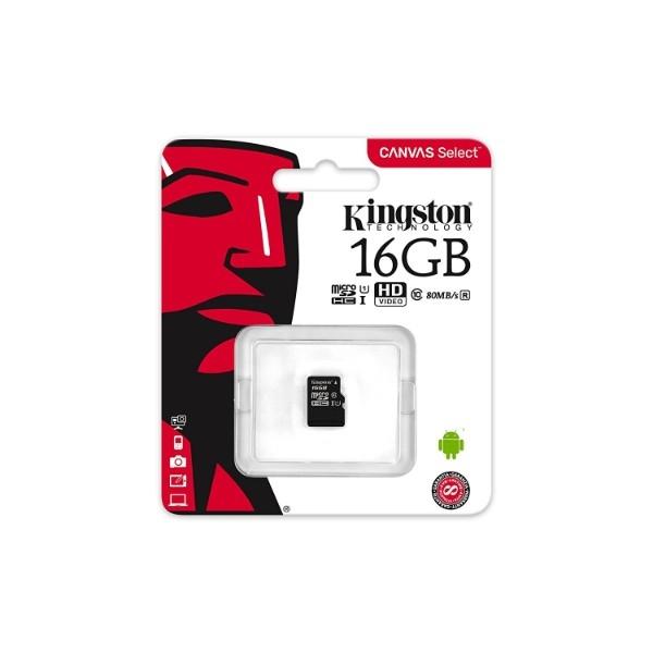 Kingston Canvas Select MicroSD 16GB  Memoria Flash