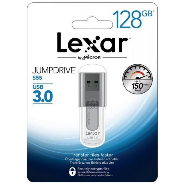 Lexar JumpDrive S55 128GB USB 3.0 130MB/s negro – Pendrive