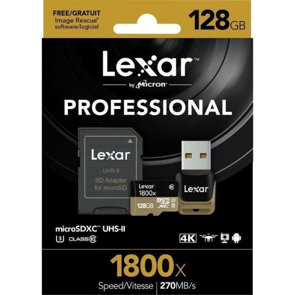 Lexar Professional 1800x 128GB 270MB/s – Tarjeta MicroSD