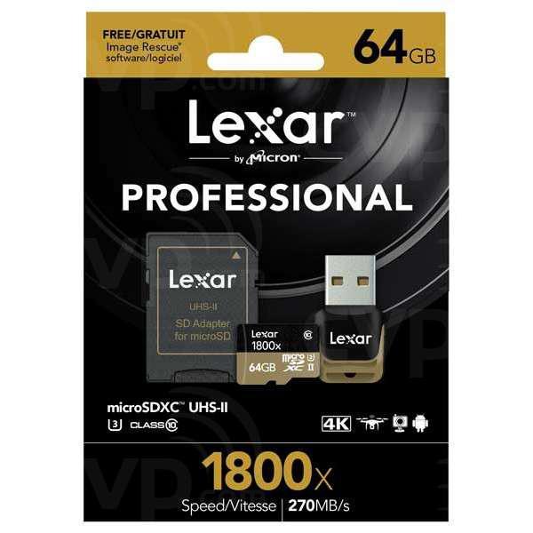 Lexar Professional 1800x 64GB 270MB/s – Tarjeta MicroSD