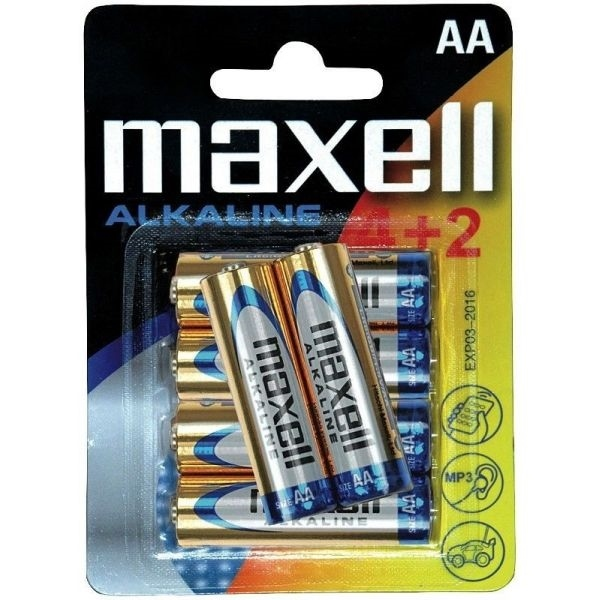 Maxell 4+2 pilas alcalinas AA lr-06 – Pilas