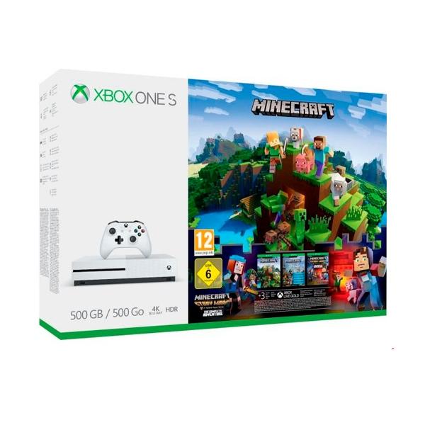 Microsoft Xbox One S 500GB + Minecraft Complete Adventure
