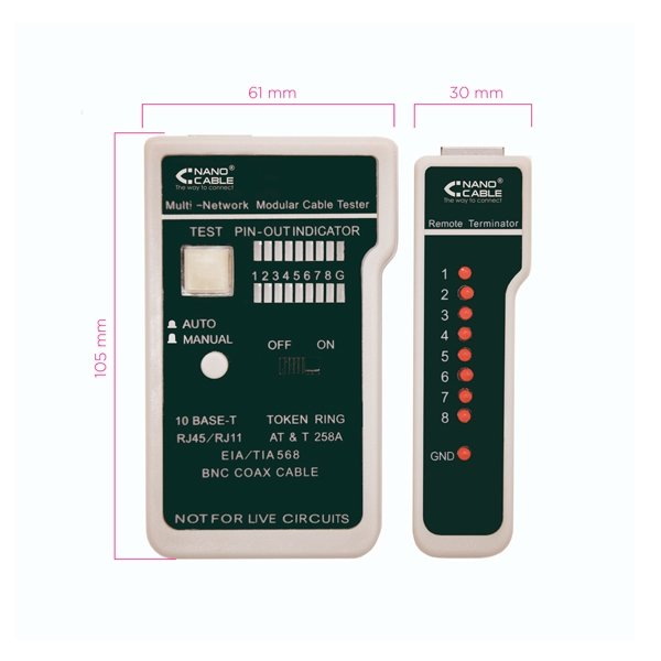 Nanocable 10310303  Testeador cable RJ11RJ12RJ45coaxial