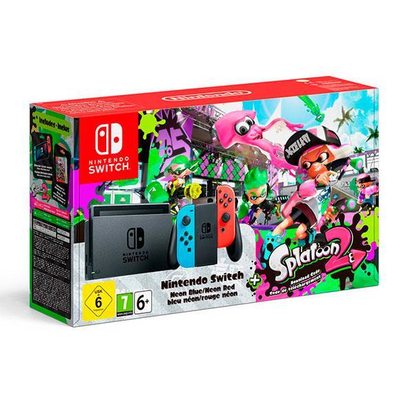 Nintendo Switch Azul/Rojo Neón + Splatoon 2  – Videoconsola
