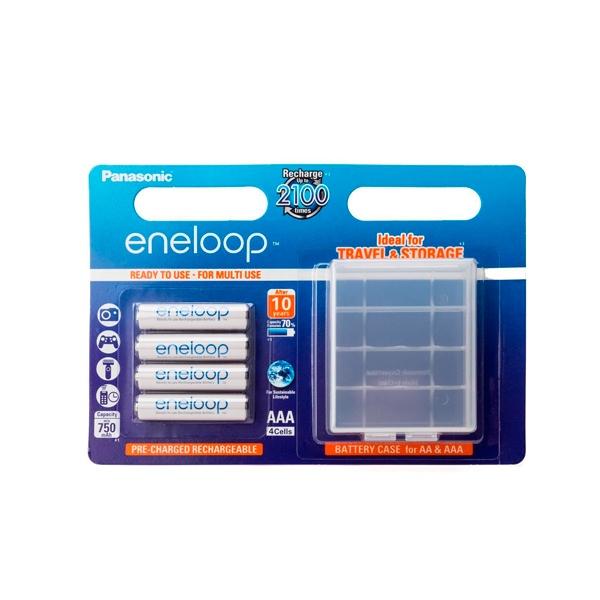 Panasonic Eneloop AAA 750mAh x4 + caja para pilas