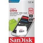 SanDisk Ultra Android 64GB 80MB/s - Tarjeta microSD