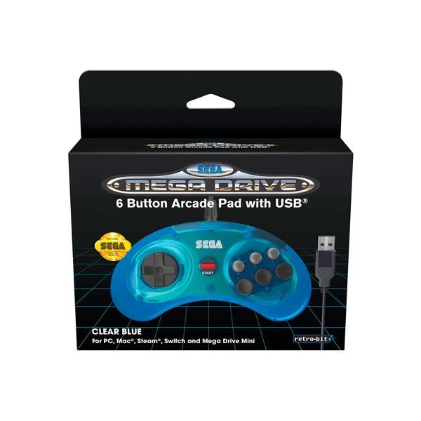 SEGA Mega Drive mini mando oficial azul de 6 botones