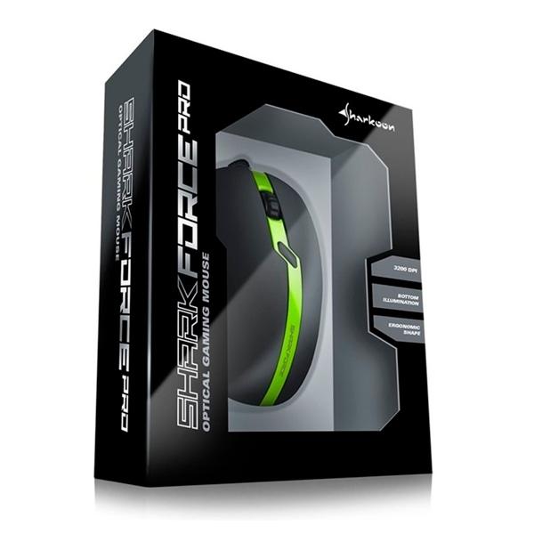 Sharkoon Force PRO USB 3200DPI Verde  Ratón