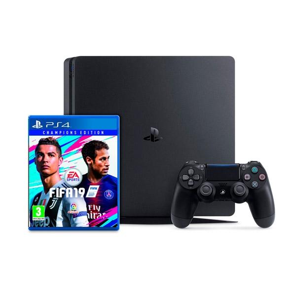 Sony PS4 Slim 1TB Negra + FIFA 19 Champions Ed. - Consola