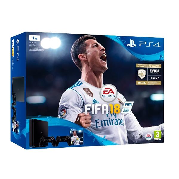 Sony PlayStation 4 Slim 1TB + FIFA 18 + 2 Dual Shock
