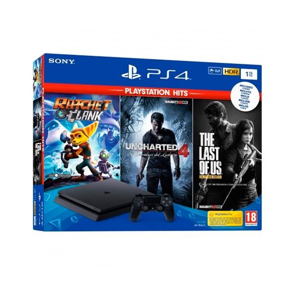 Sony PS4 1TB Slim + Playstation Hits (3 juegos) - Consola