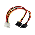 StarTechcom 12in LP4 to 2x SATA Power Y Cable Adapter