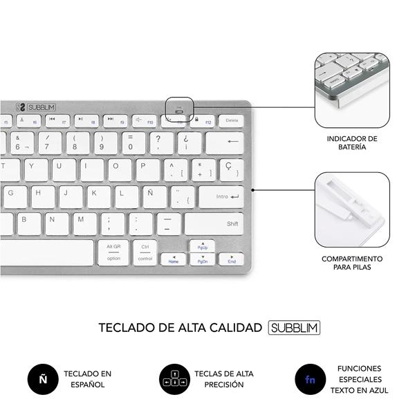 Subblim Combo Dynamic Compact Silver  Kit Teclado y Ratón