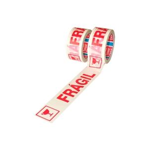 TESA Cinta de embalaje color blanca con letras rojas texto Muy Fragil 5CM diametro y 66 Metros Precinto de alta calidad