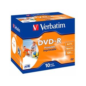 Verbatim DVDR 16x Pack 10u 47GB Imprimible  DVD